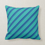 [ Thumbnail: Dark Blue and Light Sea Green Colored Lines Pillow ]