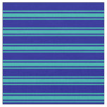 [ Thumbnail: Dark Blue and Light Sea Green Striped Pattern Fabric ]