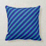 [ Thumbnail: Dark Blue and Light Sea Green Striped Pattern Throw Pillow ]
