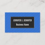 [ Thumbnail: Dark Blue and Lighter Blue Stripes Pattern Card ]