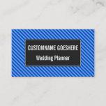[ Thumbnail: Dark Blue and Lighter Blue Stripes Pattern Card ]
