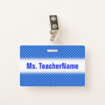 [ Thumbnail: Dark Blue and Lighter Blue Stripes Pattern + Name Badge ]
