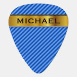 [ Thumbnail: Dark Blue and Lighter Blue Stripes Pattern & Name Guitar Pick ]