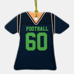 Dark Blue and Lime Green Football Jersey 60 V1 Christmas Ornament