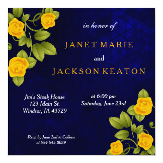 Dark Blue and Marigold Yellow Rose Flower Wedding Card
