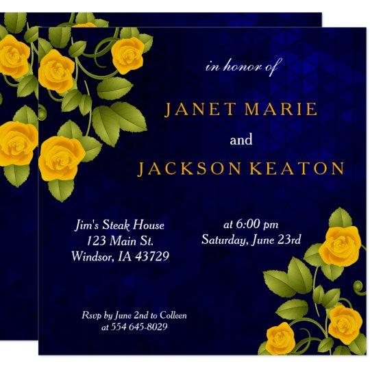 Dark Blue Wedding Invitations: Dark Blue And Marigold Yellow Rose Flower Wedding
