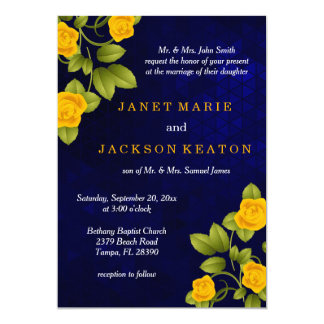 Dark Blue and Marigold Yellow Rose Wedding Card