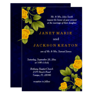 Dark Blue and Marigold Yellow Rose Wedding Invitation