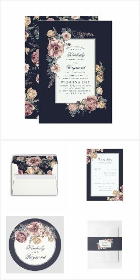 Dark Blue and Mauve Vintage Floral Frame Rustic Wedding Invitation Set