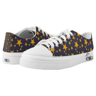 Dark Blue and Orange Stars Printed Shoes