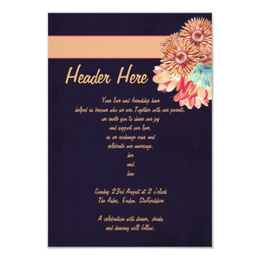 Beach Themed Dark Blue and Peach Invitation