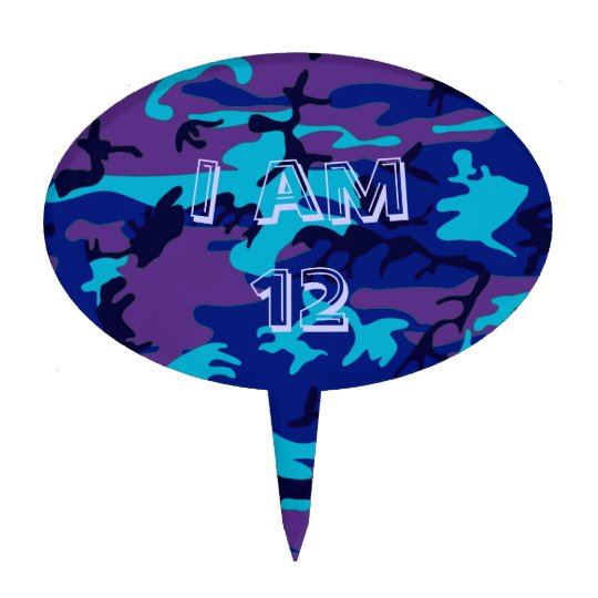 Dark Blue and Purple Camouflage Cake Topper