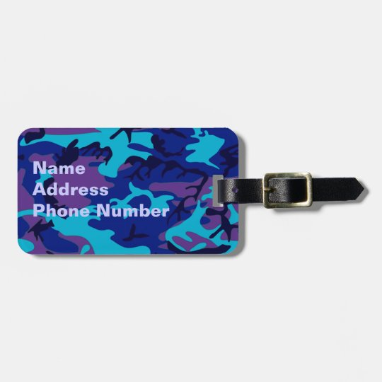 Dark Blue and Purple Camouflage Luggage Tag