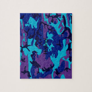 Dark Blue and Purple Camouflage Puzzle
