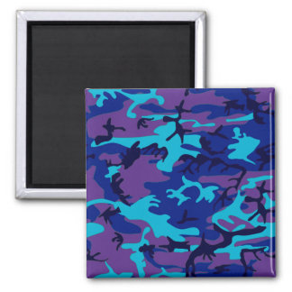 Dark Blue and Purple Camouflage Sq Magnet