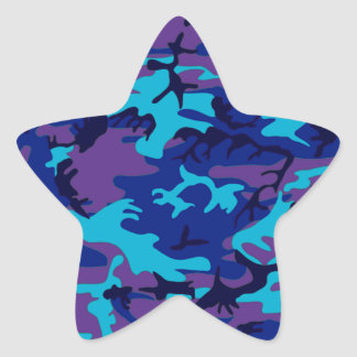 Dark Blue and Purple Camouflage Star Sticker