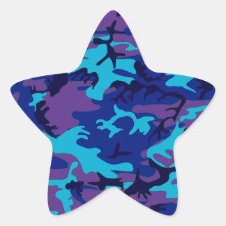Dark Blue and Purple Camouflage Star Sticker