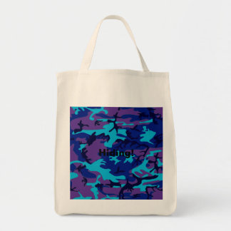Dark Blue and Purple Camouflage Tote Bag