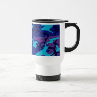 Dark Blue and Purple Camouflage Travel Mug