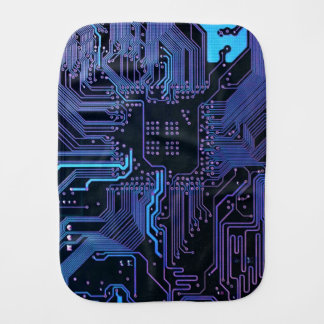 Dark Blue and Purple Cool Computer Circuit Board Burp Cloth