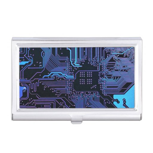 Dark blue and purple cool computer circuit board business for Cool business card case