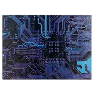 Dark Blue and Purple Cool Computer Circuit Board Cutting Boards