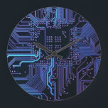 """Dark Blue and Purple Cool Computer Circuit Board Large Clock<br><div class=""""desc"""">This ones for the geeks and nerds or just the tech guy or gal whos all into technology.  Dark Blue and Purple Cool Computer Circuit Board</div>"""