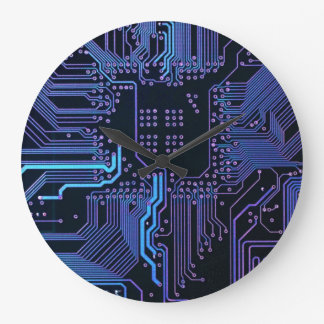 Dark Blue and Purple Cool Computer Circuit Board Large Clock
