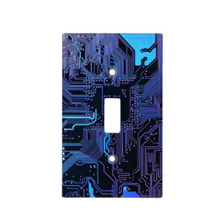 Dark Blue and Purple Cool Computer Circuit Board Light Switch Cover