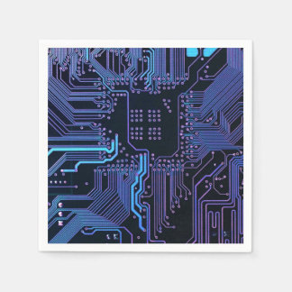 Dark Blue and Purple Cool Computer Circuit Board Disposable Napkins