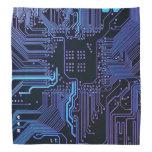 Dark Blue and Purple Cool Computer Circuit Board Bandannas