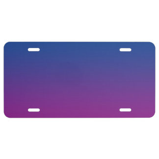 """Dark Blue And Purple Ombre"" License Plate"