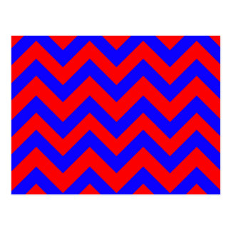 Dark Blue And Red Chevrons Postcard