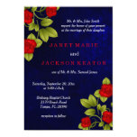 Dark Blue and Red Rose Wedding Card