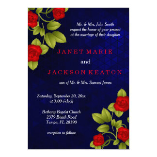 Dark Blue and Red Rose Wedding Card