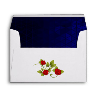 Dark Blue and Red Rose Wedding Envelope