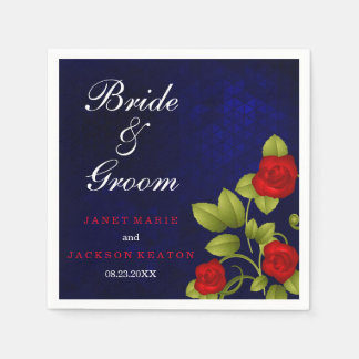 Dark Blue and Red Rose Wedding Paper Napkin
