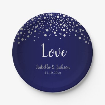Wedding Themed Dark Blue and Silver Confetti Dots Paper Plate