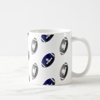 Dark Blue and Silver Football Pattern Coffee Mug