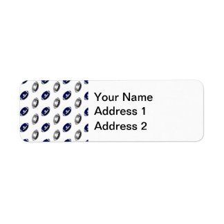 Dark Blue and Silver Football Pattern Label