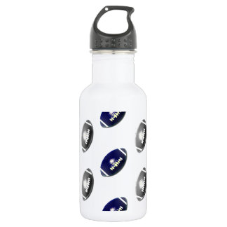 Dark Blue and Silver Football Pattern Stainless Steel Water Bottle