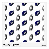 Dark Blue and Silver Football Pattern Wall Decal