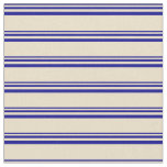 [ Thumbnail: Dark Blue and Tan Colored Striped/Lined Pattern Fabric ]