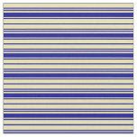 [ Thumbnail: Dark Blue and Tan Colored Stripes/Lines Pattern Fabric ]