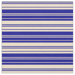 [ Thumbnail: Dark Blue and Tan Lined Pattern Fabric ]