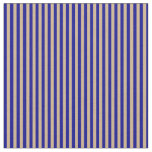 [ Thumbnail: Dark Blue and Tan Stripes Fabric ]