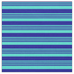 [ Thumbnail: Dark Blue and Turquoise Stripes Fabric ]