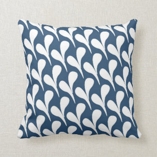 Dark Blue and White Abstract Pattern Throw Pillow