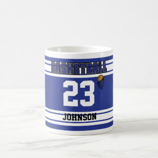 Dark Blue and White Basketball Classic White Coffee Mug