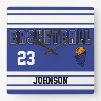 Dark Blue and White Basketball Square Wall Clock